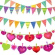 Garlands With Bunting Flags And Hearts — Stock Vector