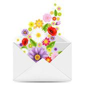 Sobre blanco con flores — Vector de stock