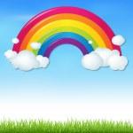 色の虹が雲と草 — ストックベクタ