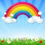 arco iris de color con nubes de hierba y flores — Vector de stock