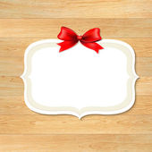 Wood Wall With Red Bow — Stockvector