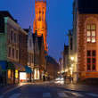 night view on old street of bruges — Stock Photo