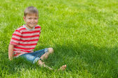 Smiling boy sits on the green grass — Stock Photo