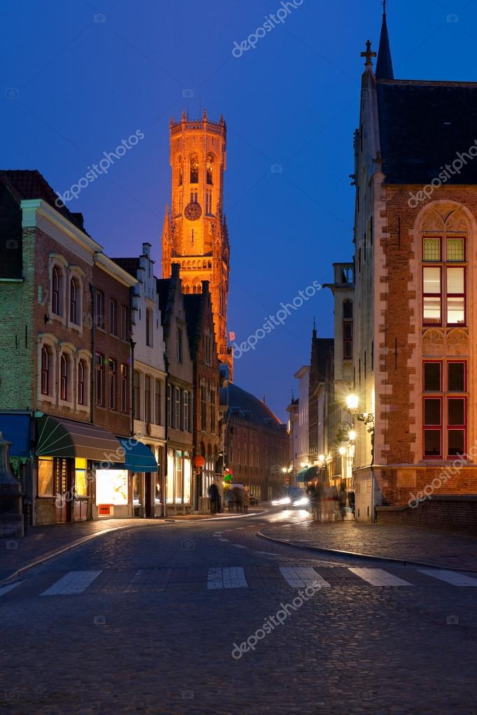 Night view on old street of Bruges. GPS information is in the file  Stock Photo #12520699