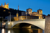 Lyon over the Saone river at night — Stock Photo