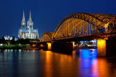 Cologne over the Rhein at night — Stock Photo