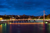 Bridge in Lyon at night — Stock Photo