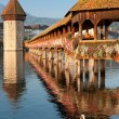 Morning Chapel Bridge in Luzern — Stock Photo