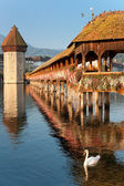 Morning Chapel Bridge in Luzern — Foto Stock