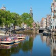 Sightseeing boats on a canal of Amsterdam — Stock Photo