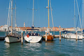 Boats at the pier in Venice — Stok fotoğraf
