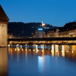 Stock Photo: Chapel Bridge in Luzern at night