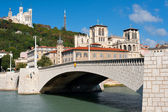 Lyon and Saone river in summer — Stock Photo
