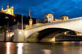 Lyon over the Saone river at cloudy night — Stock Photo