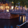 Bicycles on the bridge over an Amsterdam canal — Stock Photo #16376009
