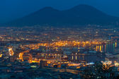 Port of Naples at night — Stock Photo