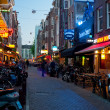 Small street of Amsterdam at night - Stock Photo