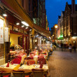 Small cafes on the old streets in Brussels — Stock Photo