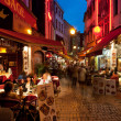 Stock Photo: Small cafe on old streets in Brussels
