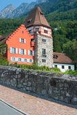 Red house in the old district of Vaduz, Liechtenstein — Stock Photo