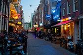 Small street of Amsterdam at night — Stock Photo