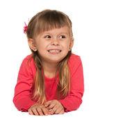 Glad tjej med rött på vit bakgrund — Stockfoto