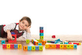 Playing with toys little boy — Stockfoto
