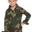 Young boy dressed in camouflage — Stock Photo