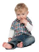 Thoughtful baby boy — Stock Photo