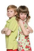 Fashion redhead boy and girl — Stock Photo