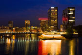 Business district of Dusseldorf at night — Stock Photo