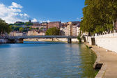 Lyon and Saone river — Stock Photo