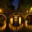 Stock Photo: Bridge in night Amsterdam