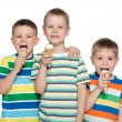 Stock Photo: Boys are eating ice cream