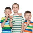 Boys eating ice cream — Stock Photo