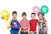 Four kids celebrate birthday — Stock Photo