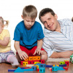 Family play on the floor — Stock Photo