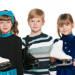Children with skates — Stock Photo