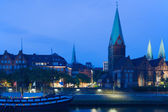 Cityscape of night Bremen in summer — Stok fotoğraf