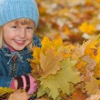 Smiling girl is lying on the yellow leaves — Stock Photo
