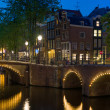 Bridges in Amsterdam at night — Stock Photo