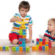 Boys with blocks on the floor — Foto Stock