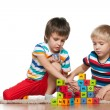 Two boys with blocks — Stock Photo