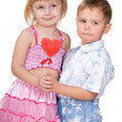 Children celebrate Valentine's Day — Stock Photo