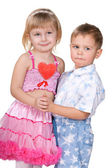 Children celebrate Valentine's Day — Foto Stock