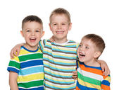 Three joyful laughing boys — Foto Stock