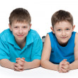 Young boys together on the white background — Stock Photo