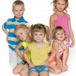 Five children on the floor — Stock Photo
