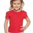 Llittle girl in red shirt — Stock Photo