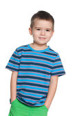 Smiling small boy in striped shirt — Stock Photo